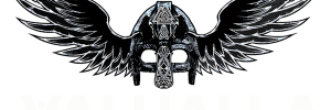 Valhalla Logo Viking helmet white