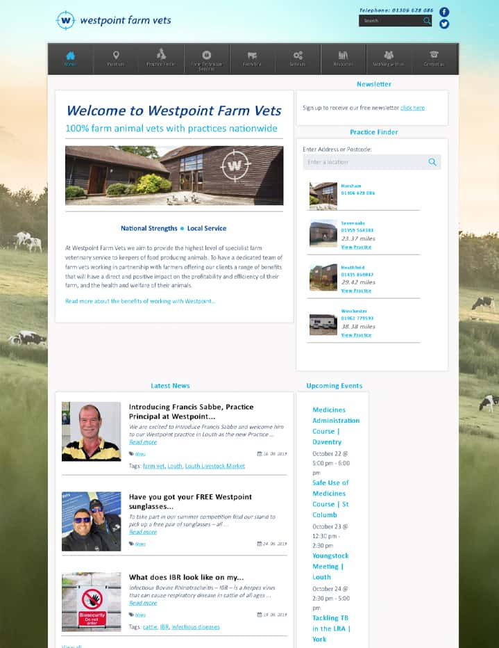 Screenshot of Westpoint homepage on desktop