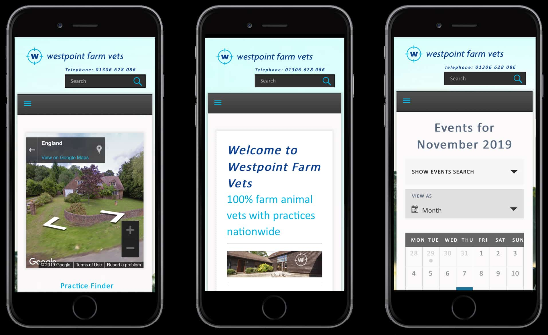 three examples of Westpoint website on mobile