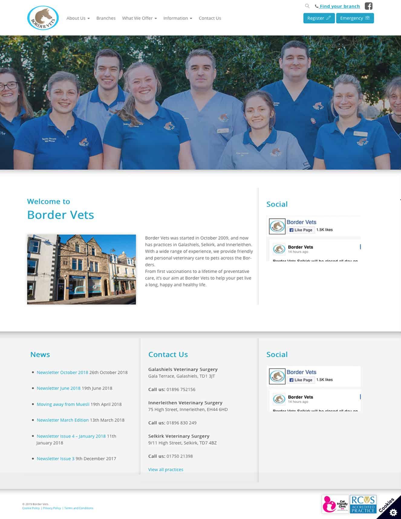 screenshot of border vets website on desktop
