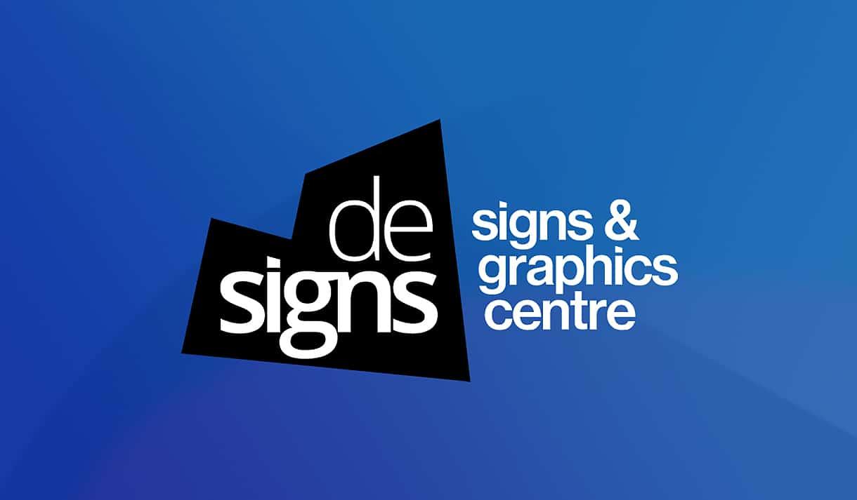 Logo for De- Signs Harrogate on blue background