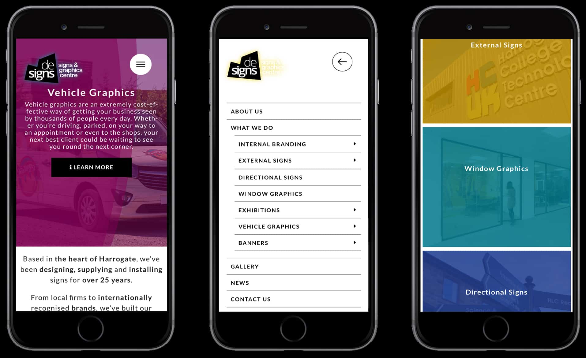 Three example of mobile display of De Signs Harrogate website