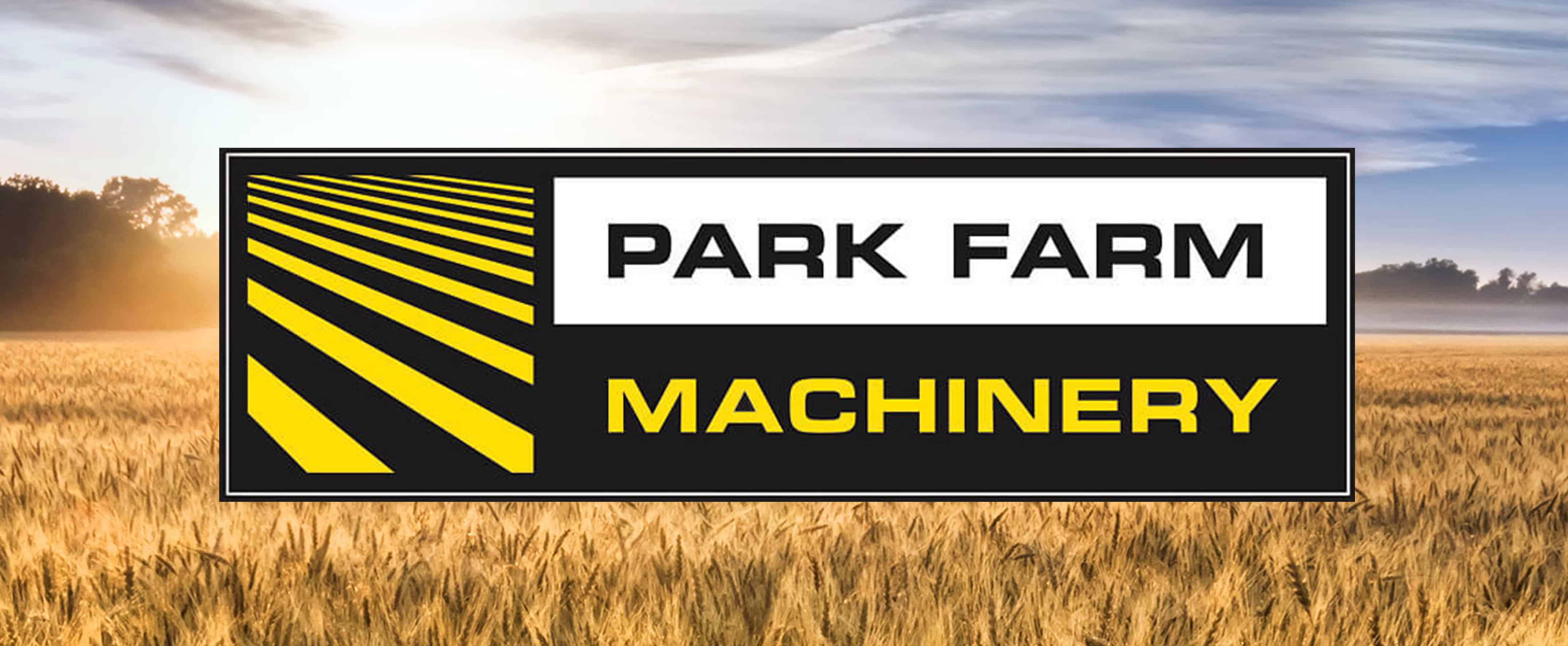 Park Farm Machinery logo with background image of wheat field
